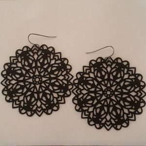 "Black 2"" Round Mandala Style Earrings"